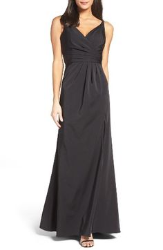 Free shipping and returns on Xscape Cross Back Side Pleat Satin Gown at Nordstrom.com. Lustrous satin is carefully pleated and wrapped to one side at the skin-flaunting bodice of a sophisticated column gown with a thigh-grazing slit to ease movement at the front and a godet inset at the back for floor-trailing drama.