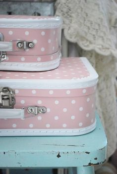 Vintage pink suitcases - including train case! | Think Pink ...