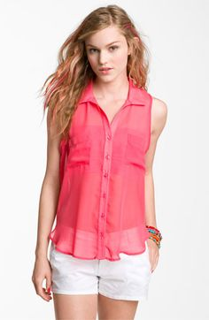 Lily White Sleeveless Chiffon Shirt (Juniors) at Nordstrom in Solid Coral $34