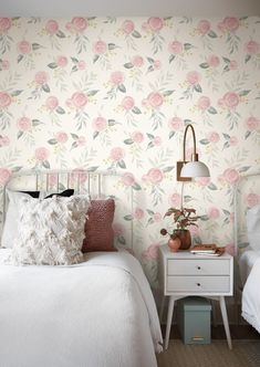 Inspired by classic heritage florals, this soft pink watercolor rose print wallpaper is reclaimed in beautifully simplistic form and color. Magnolia Home Artful Prints and Patterns by Joanna Gaines Wallpaper Off White, Stripped Wallpaper, How To Hang Wallpaper, Rose Wallpaper, Colorful Wallpaper, Peel And Stick Wallpaper, Bathroom Wallpaper Vintage, Wallpaper Backgrounds, Watercolor Wallpaper