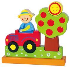 """Magnetische stapelfiguur boerderij *** Met deze puzzel vergroot uw kind zijn/haar ruimtelijk inzicht. Wanneer de puzzel niet gebruikt wordt staat hij zeer decoratief op de speelgoedplank of de slaapkamer van uw kind. De 8 puzzelstukken """"kleven"""" met onzichtbare magneetjes aan elkaar."""