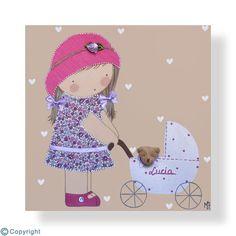 Cuadro infantil personalizado: Niña con un cochecito de bebé (ref. 12028-10)