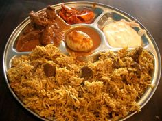 Yummy Biryani Rice with #chicken and #eggcurry  check out the maharashtrian egg curry recipe here http://secretindianrecipe.com/recipe/egg-curry