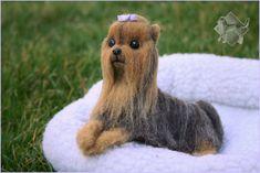 Fully-poseable needle felted Dog! Felt Dogs, Yorkshire Terrier, Needle Felting, Sculptures, Teddy Bear, Animals, Art, Yorkshire Terriers, Art Background