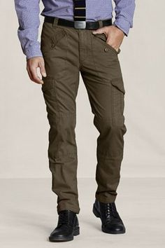 Mens Slim Fit Canvas Cargos by Lands End