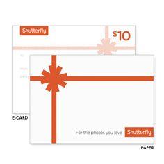 Shutterfly Gift Certificates, Online Gift Certificate and Email Gift Certificate