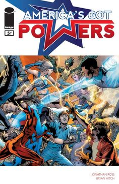 America's Got Powers #5 (of 7)  After the Event that created a whole generation of super-powered kids, Tommy Watts has finally discovered what his gift was: The ability to give super powers to others. Now, as the government's enhanced soldiers battle the outcast super-teens, Tommy can't decide which side to fight for!