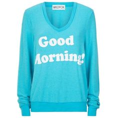 Wildfox Good Morning Sweater ($130) ❤ liked on Polyvore featuring tops, sweaters, lullabies, blue v neck sweater, vintage sweater, v neck sweater, wildfox and letter sweater