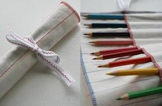 What a great simple and quick sewing project to keep your own pencils or to make as a gift for your favorite artist. But don't limit yourself, this little fabric roll would provide a cozy home for art pens or knitting needles, with a little customization to the measurements.