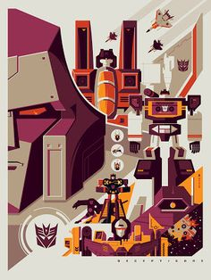 New York Comic-Con 2012 Exclusive Transformers Screen Prints by Tom Whalen - Decepticons
