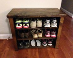 """Rustic Distressed Shoe Bench With 3 Shelves 30'L x 14""""W x 22.5""""H"""