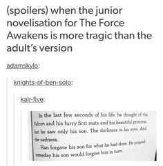When the junior novelization for The Force Awakens is more tragic than the adult's version