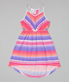 Loving this Pink & Blue Stripe Crocheted Cover-Up - Girls on #zulily! #zulilyfinds