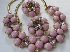 1950s Hobe necklace & earrings #vintage #jewelry #pink #hobe #1950s #necklace #earrings $325