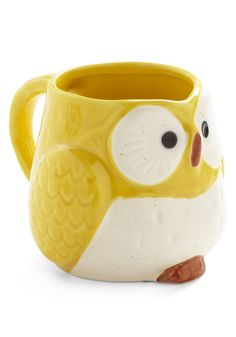 Owl Warm and Cozy Mug in Yellow - Yellow, Vintage Inspired, Owls, Dorm Decor, Top Rated, Eco-Friendly