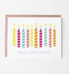 New for our best selling Birthday Candles card in Spanish! Send birthday wishes to someone special in your life with our Birthday Candles card! Seven colorful birthday candles stand alight and r Spanish Birthday Cards, Happy Birthday In Spanish, Simple Birthday Cards, Birthday Greeting Cards, Birthday Greetings, Card Birthday, Birthday Nails, Happy Birthday Candles, Happy Birthday Wishes