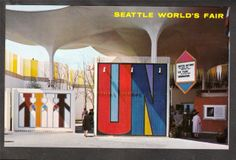 1962 United Nations Pavilion Stamp Seattle's World's Fair Exposition Postcard