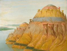 George Catlin, Picturesque Clay Bluff, 1700 Miles above St. Louis, 1832, Smithsonian American Art Museum, Gift of Mrs. Joseph Harrison, Jr.