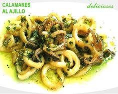 calamares al ajillo en salsa verde