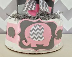 Dream Big Little One Diaper Cake in Pink Ming and Silver