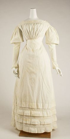 Dress Date: Culture: American or European Medium: cotton Dimensions: Length at CB: 52 in. 1800s Fashion, Victorian Fashion, Vintage Fashion, Vintage Vogue, Women's Fashion, Historical Costume, Historical Clothing, Vintage Dresses, Vintage Outfits
