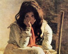 In thoughts (Peasant Girl) - Pedro Lira Rencoret Chilean 1845-1917