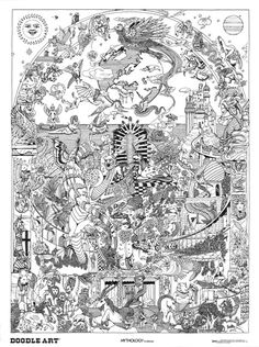 MYTHOLOGY: doodle art colouring poster:  This was uploaded by doodleartposters, FREE jpg download @ photobucket.