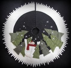 """This listing is for the Kit to make this Tree skirt  17 diameter    This Kit Contains: Pattern ½ yard Fresh Linen wool felt (18"""" x 36"""")  12"""" x"""