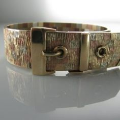 #Vintage #Multi #Tone #Gold #Bracelet - #Buckle / #Belt #Design  #Rose #Gold €2,495 #Jewelry #The #Antiques #Room #Galway #Ireland Rose Gold Jewelry, Gold Jewellery, Diamond Rings, Diamond Engagement Rings, Galway Ireland, Bangles, Bracelets, Unique Vintage, Belt Buckles