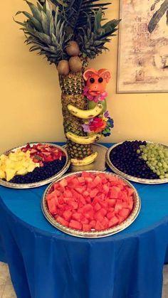 Baby shower fruit table.  Unique idea #jungle #monkey #theme