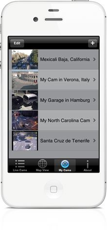 You can add you own private IP cameras and public live webcams in World Live Cams app for iPhone, iPad, Android, Windows Phone smartphones and tablets  http://livecams.vinternete.com