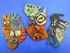 asymmetrical faces These are made of clay, but could easily use cardboard and recycled materials #3D
