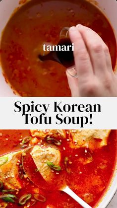Korean Soup Recipes, Vegetarian Recipes Videos, Korean Tofu Soup Recipe Easy, Easy Soup Recipes, Korean Kimchi Recipe, Vegetarian Korean Food, Recipes With Kimchi, Spicy Vegetarian Recipes, Cooking Recipes