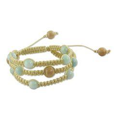 NOVICA Amazonite and Wood Shambhala Style Macrame Bracelet Adjustable Length Peaceful Nature -- Want additional info? Click on the image.