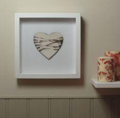 Framed Smoke Fired Ceramic Heart