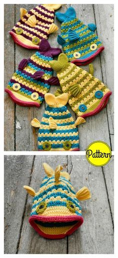 Pattern Crochet Fish Hat Crochet Pattern - These cute fish hat crochet patterns are perfect if you like fishing! Even if you don't, these funny fish hat will keep you nice and warm. Crochet Beanie Pattern, Baby Knitting Patterns, Crochet Patterns, Hat Patterns, Crochet Ideas, Yarn Projects, Knitting Projects, Crochet Projects, Crochet Gifts
