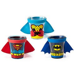 Nothing makes shot glasses geekier than putting a cape on them and watching it fly as you knock back your drink. And these DC Comics Caped Shot Glasses are super indeed.  These tiny glasses with tiny capes are just adorable. You can c Batman Party, Superhero Party, Dc Trinity, Women's Shooting, Superman Wonder Woman, Capes For Women, Comic Styles, Shot Glasses, Dc Comics