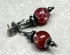 Rote++Silber+Ohrringe+mit+Feuerachat+von+Galadryl+Schmuckdesign+-+Handgefertigter+Silber-+und+Kupfer+Schmuck+auf+DaWanda.com