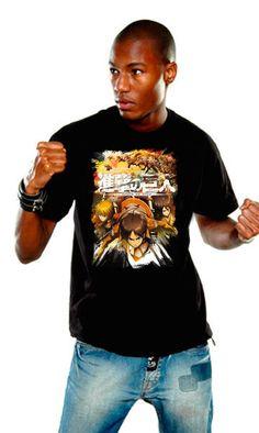 Camiseta Crewfight negra. Ataque a los titanes Estupenda camiseta que lleva por título Crewfight en un modelo en color negro, perteneciente al exitoso manga/anime Ataque a los titanes (Attack on Titan) y que es 100% oficial, licenciada y fabricada en material 100% algodón.