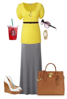 """""""Refreshed"""" by shortemmi ❤ liked on Polyvore featuring Forever New, Christian Louboutin, Abercrombie & Fitch, Michael Kors, Chanel, stripes, nautical, michael kors, cute and yellow"""