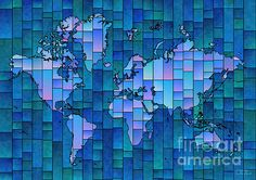 World Map Glasa Blue by elevencorners. World map wall print decor. #elevencorners #mapglasa