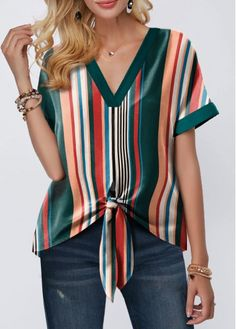 Tops For Women Tie Hem Roll Sleeve Multicolor Striped Blouse How To Roll Sleeves, Half Sleeves, Tie Blouse, Shirt Blouses, Trendy Tops For Women, Mode Outfits, Printed Blouse, Ideias Fashion, Clothes