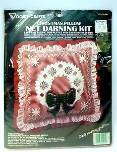 "Vogart Crafts Christmas Wreath Ruffled Pillow Net Darning Kit 14""x14"" #2942 NOS"