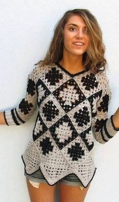 Pullover knitted by grandmother& square pattern - Pina fai da te Pull Crochet, Crochet Jumper, Crochet Jacket, Crochet Cardigan, Crochet Granny, Crochet Motif, Knit Crochet, Crochet Capas, Knitting Patterns