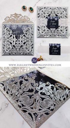 Winter Wonderland - Elegant winter snowflake glittery laser cut wedding invitations with custom belly bands EWWS211