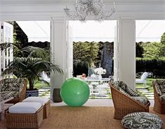 Aerin Lauder's Wainscott pool house, inspired by Babe Paley's Round Hill hideaway.