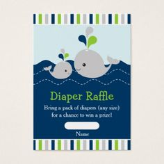 Green and Navy Whale Baby Shower Diaper Raffle Business Card - baby shower ideas party babies newborn gifts