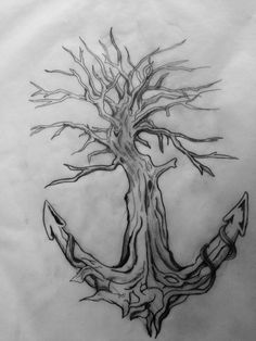 Tattoo of a tree turning into a anchor through wraparound segments of an anchor as well as make up the shape.