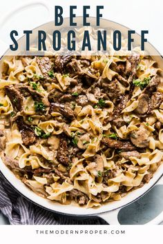Beef stroganoff is a take-no-prisoners, soul-soothing, household-uniting kind of supper. Just thinking about cooking it feeds the hungriest parts of… Mushroom Stroganoff, Stroganoff Recipe, Steak And Mushrooms, Creamed Mushrooms, Easy Steak Fajitas, Beef Recipes, Cooking Recipes, Recipies, Recipes