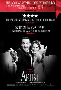 The Artist , starring Jean Dujardin, Bérénice Bejo, John Goodman, James Cromwell. A silent movie star meets a young dancer, but the arrival of talking pictures sends their careers in opposite directions. #Comedy #Drama #Romance